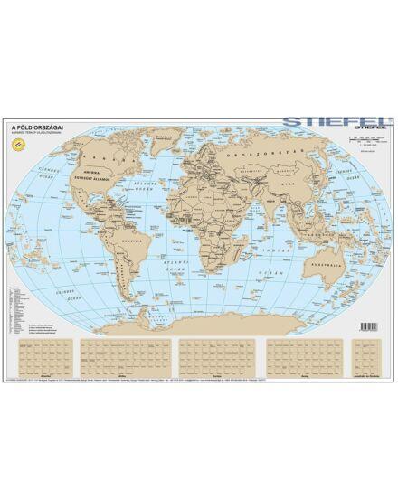 A Föld országai -  kaparós világtérkép (keretes)