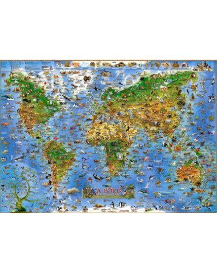 Cartographia  - A Föld állatvilága gyerekeknek - gyermektérkép, lécezett