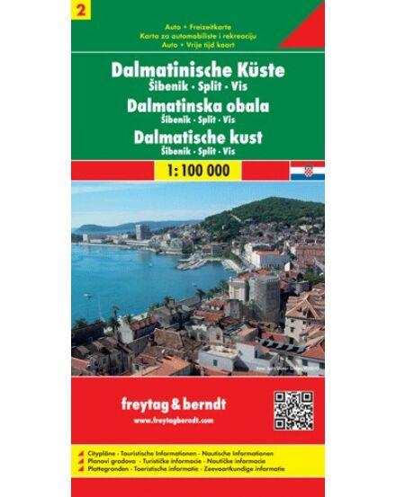 Cartographia  - Dalmát-tengerpart 2 / Sibenik - Split - Vis térkép
