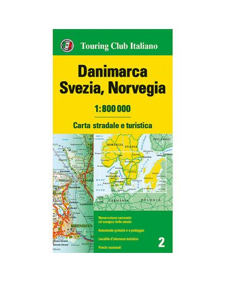 Cartographia  - Dánia,Svédország, Norvégia térkép (olasz borító) TCI
