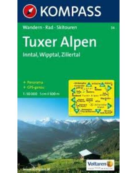 Cartographia  - K 34 Tuxer Alpen, Inntal, Wipptal, Zillertal turistatérkép
