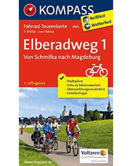 Cartographia  - K 7001 Elba 1. kerékpáros térkép Schmilka-tól Magdeburg-ig