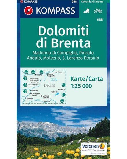 Cartographia  - K 688 Brenta-csoport (Brentai-Dolomitok), Madonna di Campiglio, Andalo, Molveno turistatérkép