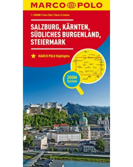 Cartographia  - Ausztria résztérkép 2. - Salzburg, Karintia, Stájerország, Dél-Burgenland