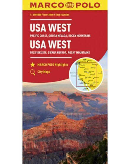 Cartographia  - USA Nyugati-part térkép (Csendes-Óceáni partvidék, Sierra Nevada, Sziklás-hegység)