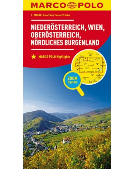 Cartographia  - Ausztria résztérkép 1.- Alsó- és Felső-Ausztria, Észak-Burgenland, Bécs