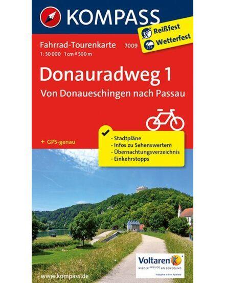 Cartographia  - K 7009 Duna menti kerékpárút térkép (Donaueschingentől Passauig)