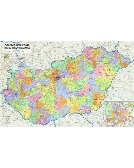 Cartographia  - Magyarország postai irányítószámai falitérkép