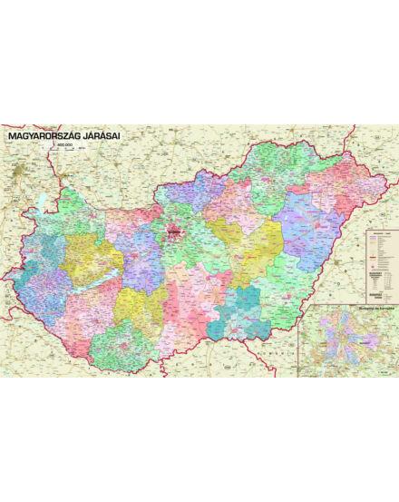 Cartographia  - Magyarország járásai lécezett falitérkép