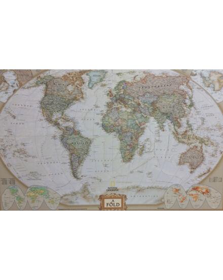 Cartographia  - National Geographic világtérkép, magyar nyelvű antik színezésű falitérkép - keretes