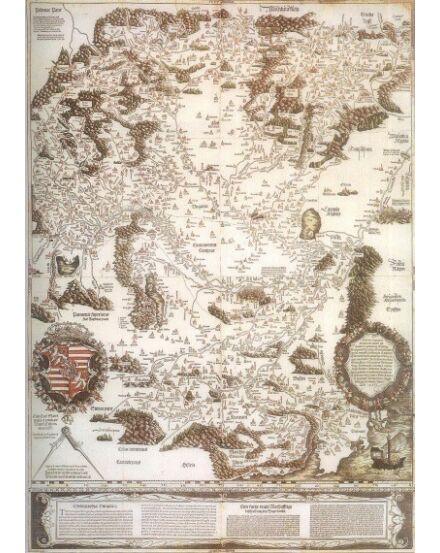 Cartographia  - Tabula Hungariae - Lázár deák fakszimile keretes falitérkép