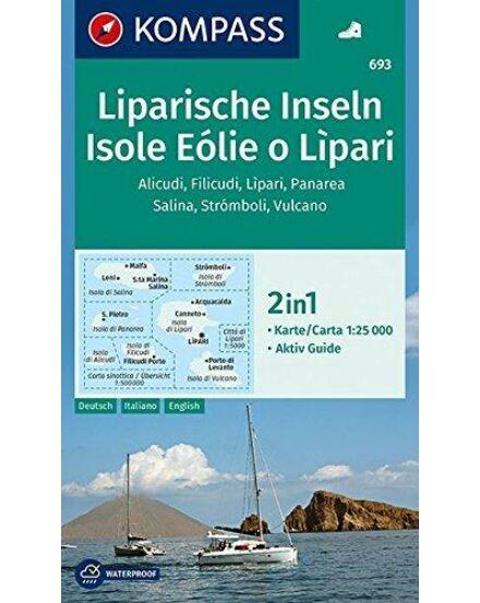 Cartographia  - Isole Eolie o Lipari - Liparische Inseln - Alicudi - Filicudi - Lipari - Panarea - Salina - Stromboli - Vulcano Lipari szigetek turistatérkép