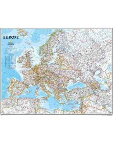 Európa falitérkép politikai - National Geographic, keretes (kicsi)