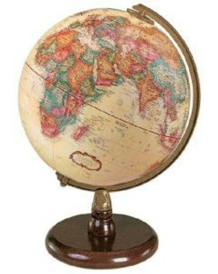 Cartographia  - QUINCY földgömb - 23 cm átmérőjű, antik, angol nyelvű, fatalpas