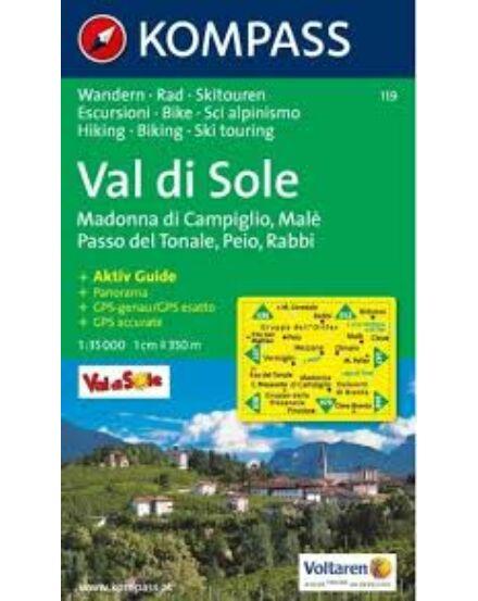 Cartographia  - K 119 Val di Sole, Madonna di Campiglio, Malè, Passo del Tonale, Peio, Rabbi turistatérkép