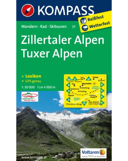 Cartographia  - Zillertali Alpok Tuxi Alpok turistatérkép