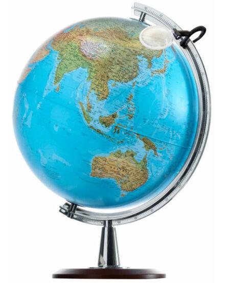 ATLANTIS földgömb - fatalpas, világító, 40 cm átmérőjű, nagyítós