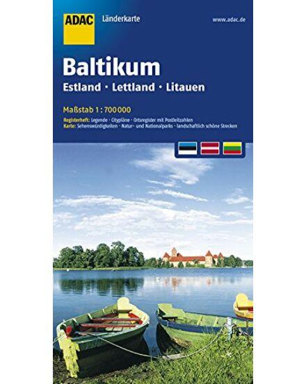 Balti országok térképe (Észtország, Lettország, Litvánia)