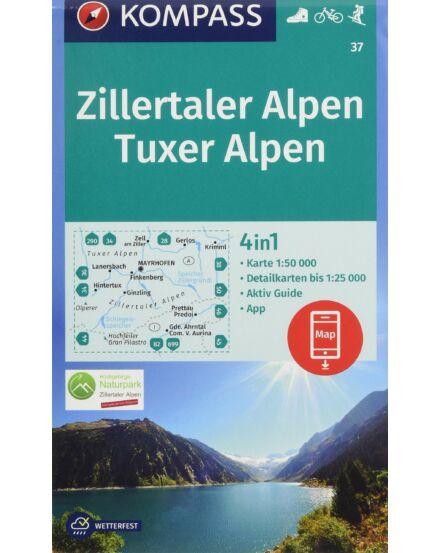 Zillertaler/Tuxer Alpen Turistatérkép