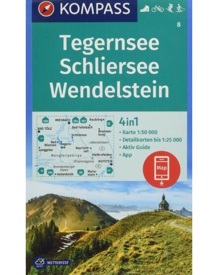 K 8 Tegernsee, Schliersee, Wendelstein 4 az 1-ben túratérkép Kompass