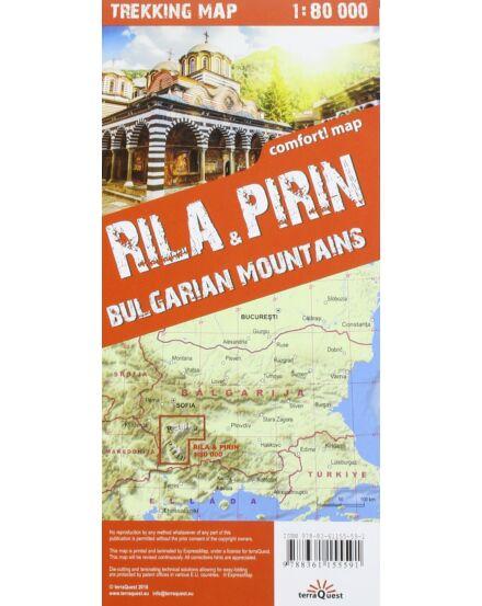Rila, Pirin (Bulgária) trekking térkép