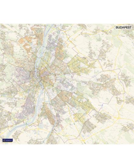 Cartographia  - Budapest falitérkép (NAGY méretű) - keretes
