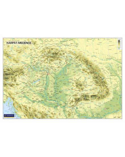 Kárpát-medence domborzata határok nélkül falitérkép  60x41 cm - választható méret és kivitel