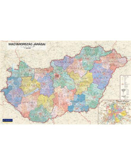 Magyarország járásai I. falitérkép 132x84 cm - választható méret és kivitel