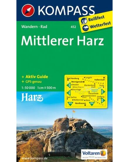 K 452 Harz - középső rész turistatérkép 1:50 000