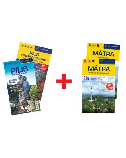 Mátra 3in1 és Pilis és Visegrádi hegység 4in1 outdoor kalauz + vÍzálló térkép + AJÁNDÉK hátizsák!
