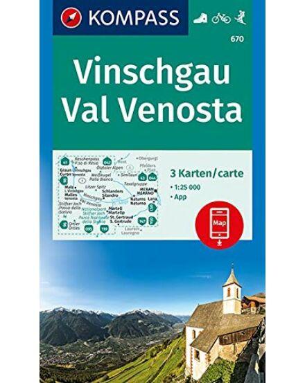 K 670 Vinschgau - Val Venosta, 3 részes szett 1:25 000 turistatkp.