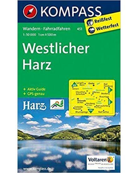 K 451 Harz - nyugati rész turistatérkép