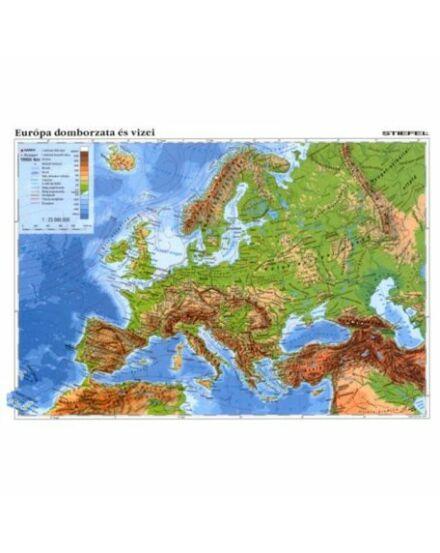 Cartographia  - Európa domborzata hátoldalon vaktérképpel