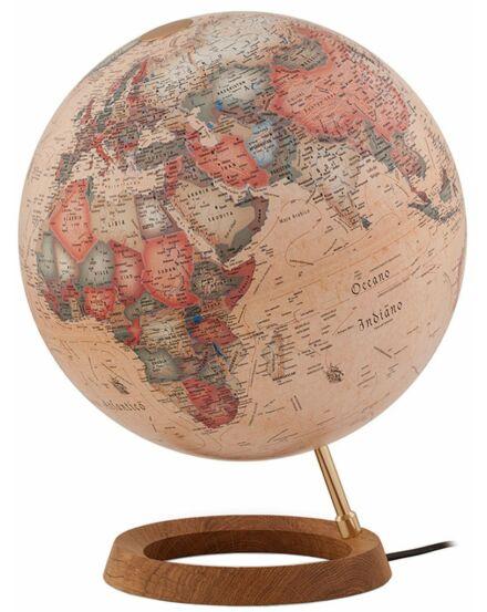 FULL CIRCLE 1 földgömb 30cm, antik, világító, fatalpas - magyar