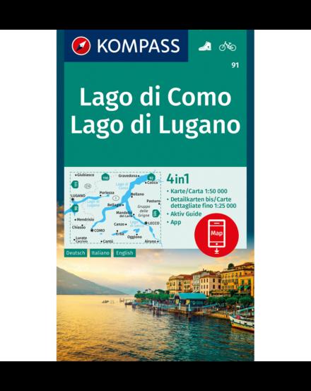 Cartographia  - K 91 Comói-tó (Lago di Como) és a Luganói-tó (Lago di Lugano) turistatérképe