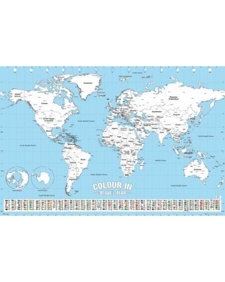 Színezhető világtérkép - papírív 91,5*61 cm AJÁNDÉK színes ceruza készlettel