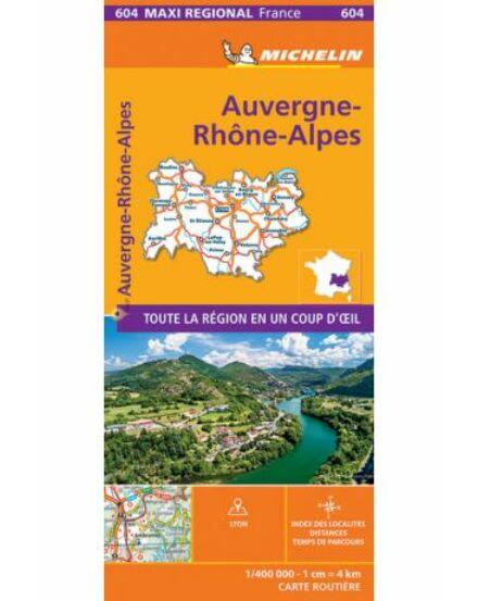 Auvergne- Rhone-Alpok  régiótérkép Michelin 604