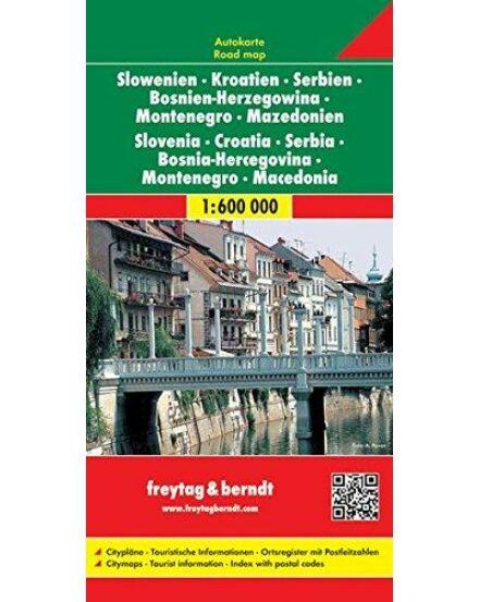 Szerbia-M,Horváto.,Szlov.Bosznia keményborítós térkép