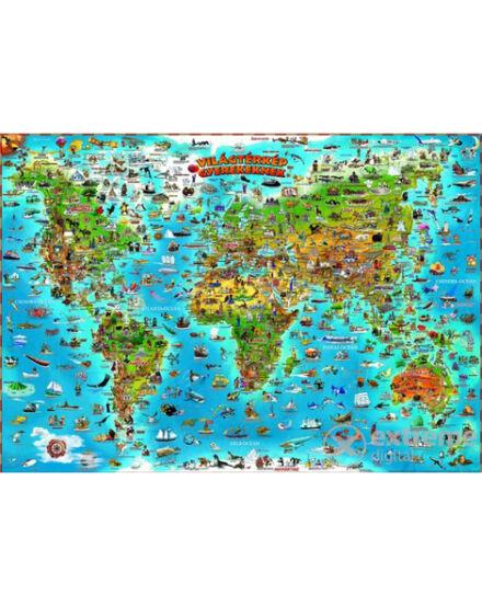 Cartographia  - Világtérkép gyerekeknek - gyermektérkép, lécezett