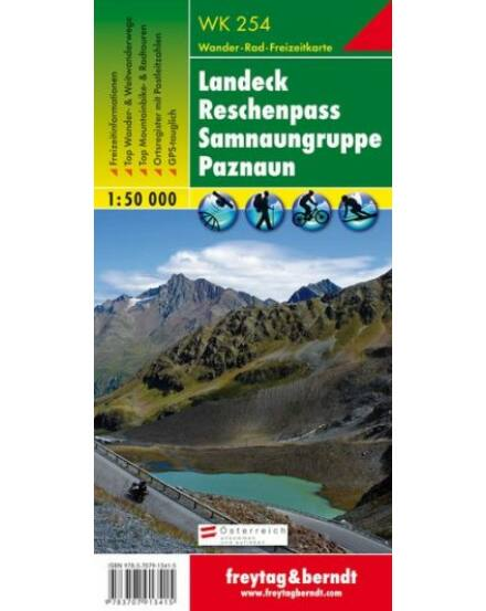 WK254 Landeck,Reschenpass,Samnaungruppe Paznaun turistatérkép