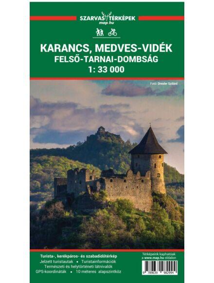 Karancs, Medves-vidék, Felső-Tarnai-dombság turistatérkép