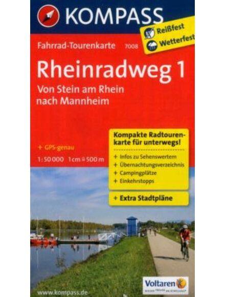 Cartographia  - K 7008 Rajna menti kerékpáros útvonal 1. térkép (Stein am Rhein - Mannheim)