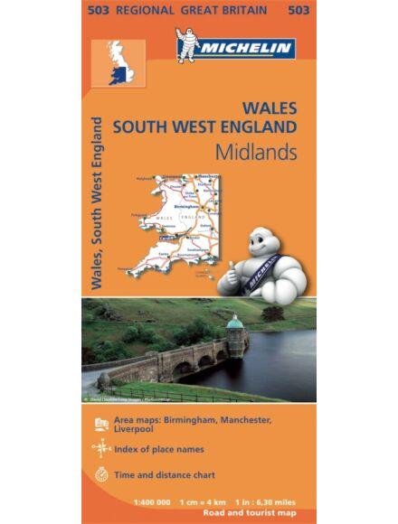 Cartographia  - Wales, Nagy-Britannia (délnyugati rész) térkép - Michelin 403/503