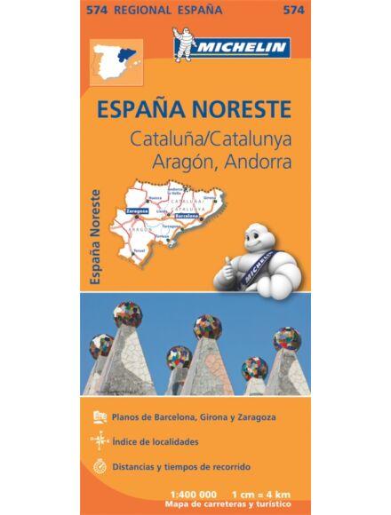 Spanyolország régiótérkép: Aragon, Katalónia  574 - Michelin