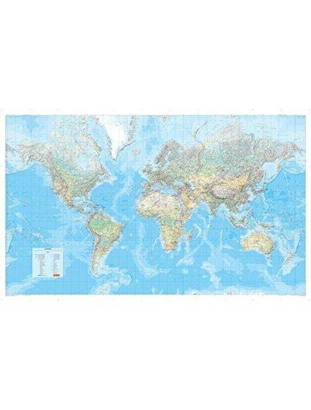 Világtérkép - domborzati színezésű papír ív (angol)