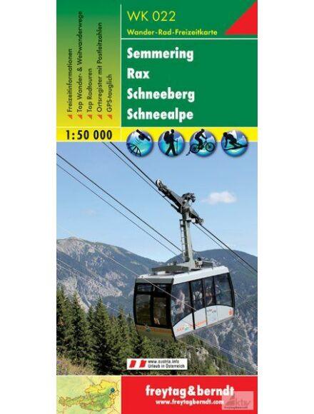 WK022 Semmering, Rax, Schneeberg, Schneealpe turistatérkép
