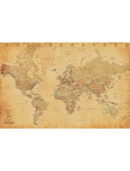 Világtérkép antik - keretes