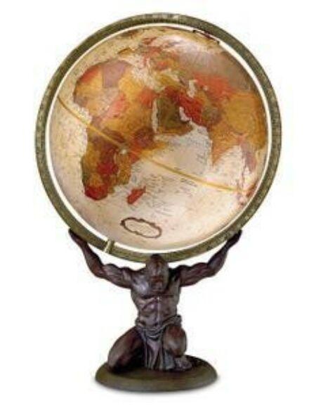 ATLAS földgömb - 30 cm átmérőjű, antik, angol nyelvű, bronz talppal