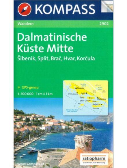 K 2902 Dalmát-tengerpart középső rész (Sibenik-Split-Brac-Hvar-Korcula) turistatérkép