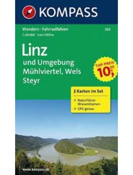 Cartographia  - K 202 Linz és környéke, Mühlviertel, Wels, Steyr turistatérkép